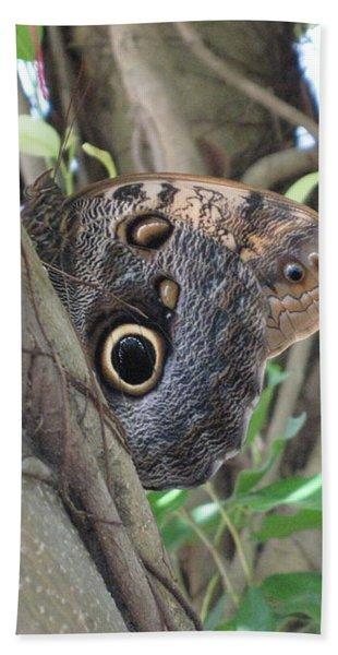 Owl Butterfly In Hiding Bath Towel