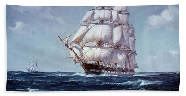 Painting Of The Square Rigged Frigate Bath Towel