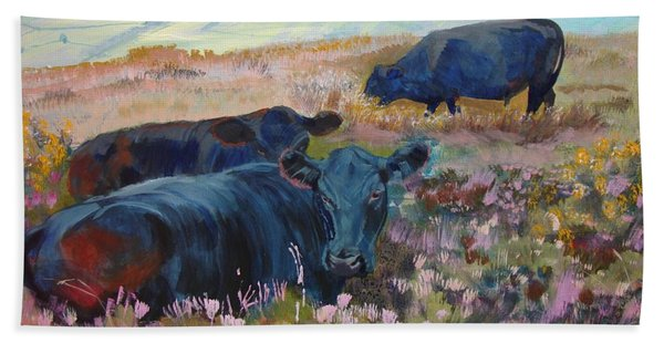 Painting Of Three Black Cows In Landscape Without Sky Bath Towel