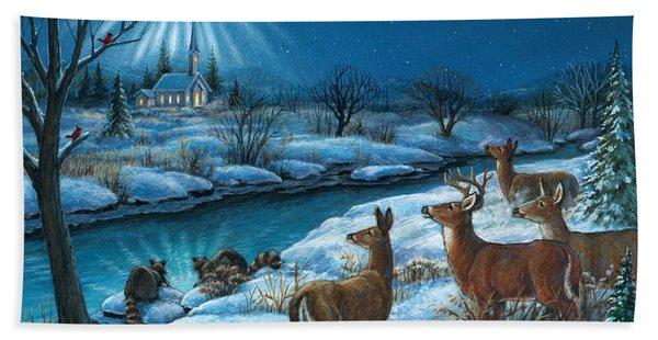 Peaceful Winters Night Hand Towel