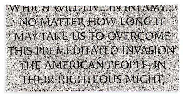 Pearl Harbor Speech - Franklin Delano Roosevelt Hand Towel
