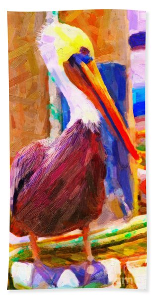 Pelican On The Dock Bath Towel