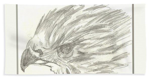Pencil Drawing Of Hawk Eye Bath Towel