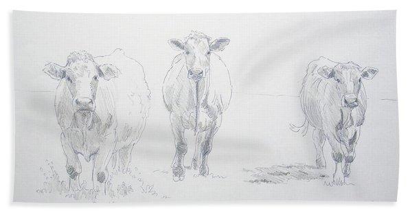 Pencil Drawing Of Three Cows Bath Towel
