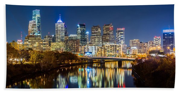 Hand Towel featuring the photograph Philadelphia Cityscape Panorama By Night by Mihai Andritoiu