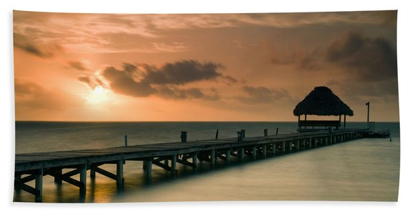 Pier With Palapa At Sunrise, Ambergris Hand Towel