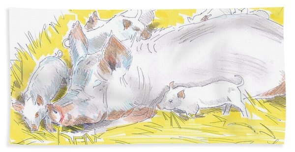 Pig Sow And Piglets Bath Towel