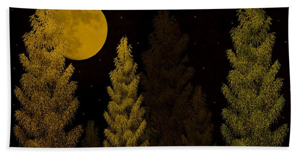 Pine Forest Moon Bath Towel