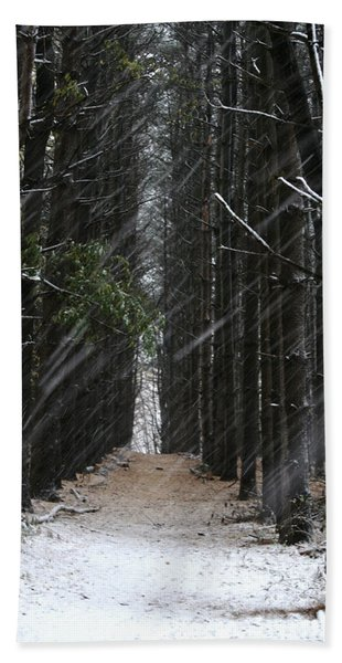 Pines In Snow Bath Towel