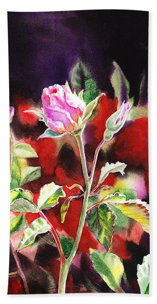 Pink Rose Bloom Hand Towel
