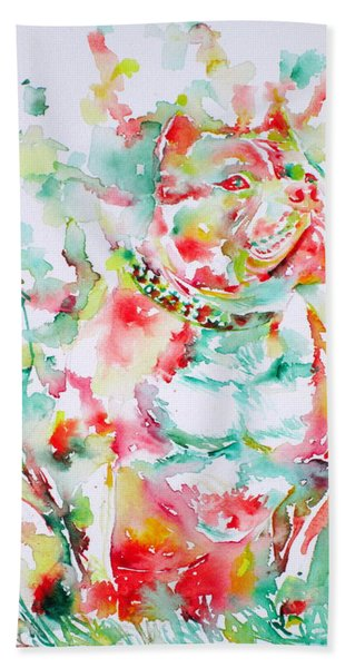 Pit Bull In The Garden Hand Towel