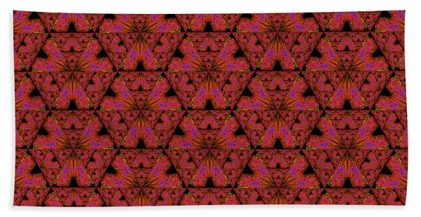Poppy Sierpinski Triangle Fractal Bath Towel