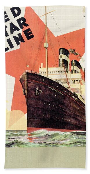Poster Advertising The Red Star Line Bath Towel