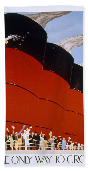 Poster Advertising The Rms Queen Mary Hand Towel