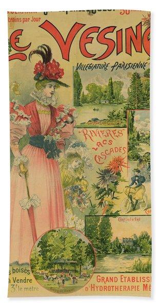 Poster For The Chemins De Fer De Louest To Le Vesinet Hand Towel