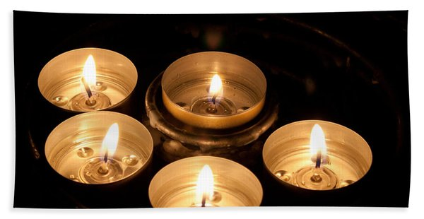 Prayer Candles In Notre Dame Bath Towel
