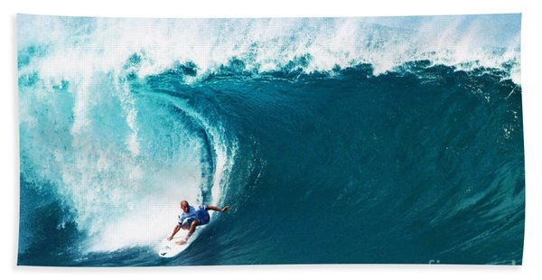 Pro Surfer Kelly Slater Surfing In The Pipeline Masters Contest Hand Towel