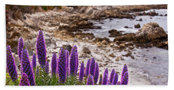 Purple California Coastline Hand Towel