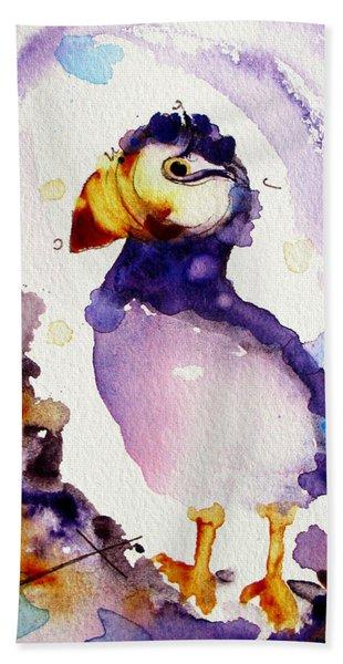 Purple Puffin Hand Towel
