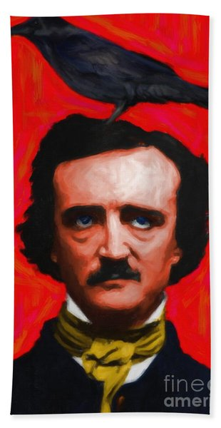 Quoth The Raven Nevermore - Edgar Allan Poe - Painterly - Red - Standard Size Bath Towel
