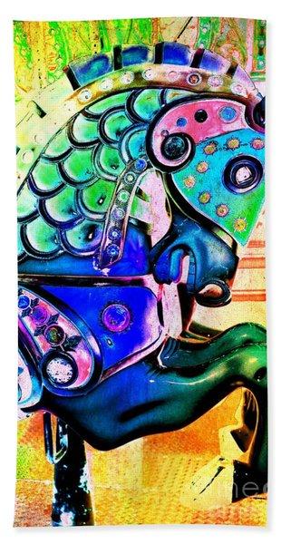 Rainbow Carousel Horse Hand Towel