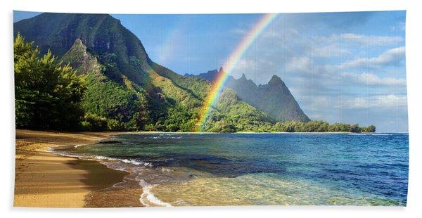 Rainbow Over Haena Beach Hand Towel