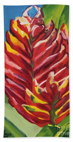 Red Bromeliad Bath Towel