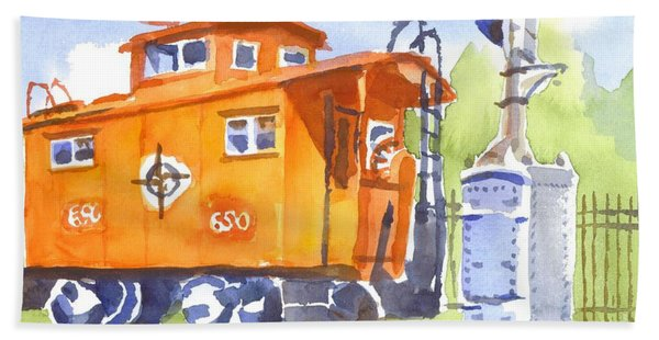 Red Caboose With Signal  Bath Towel