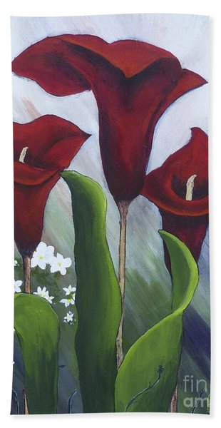 Red Calla Lilies Hand Towel
