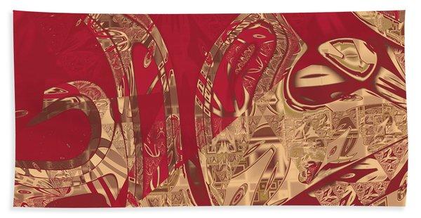 Red Geranium Abstract Bath Towel