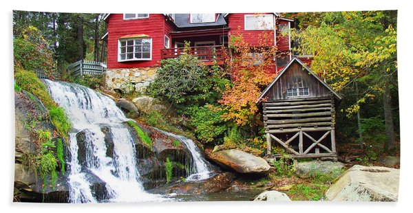 Red House By The Waterfall Hand Towel