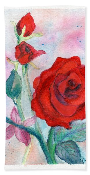 Red Roses Hand Towel