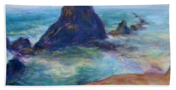 Rocks Heading North - Scenic Landscape Seascape Painting Hand Towel