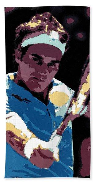 Roger Federer Portrait Art Hand Towel