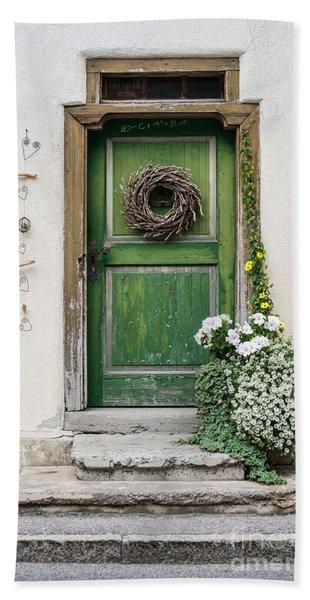 Rustic Wooden Village Door - Austria Hand Towel