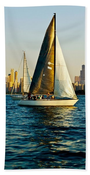 Sailboat In A Lake, Lake Michigan Hand Towel