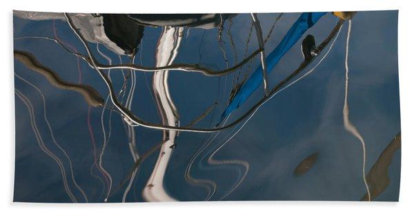 Sailboat Mast Reflections - Abstract Hand Towel