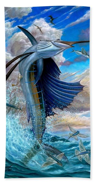 Sailfish And Flying Fish Bath Towel