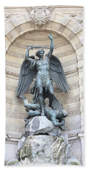Saint Michael The Archangel In Paris Bath Towel
