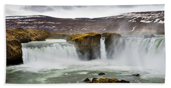 Scenic View Of Godafoss Waterfall Hand Towel