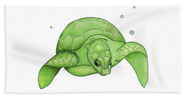 Sea Turtle - Green And White Hand Towel