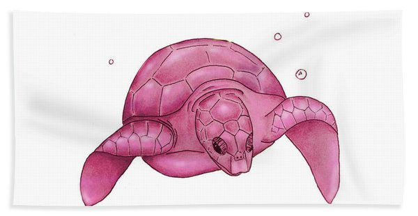 Sea Turtle - Pink Andwhite Hand Towel