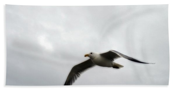 Seagull In Flight Hand Towel