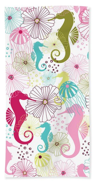 Seahorse Flora Bath Towel