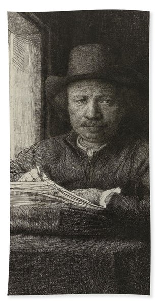 Self-portrait Etching At A Window Hand Towel