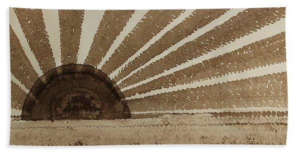 Sepia Sunset Original Painting Bath Towel