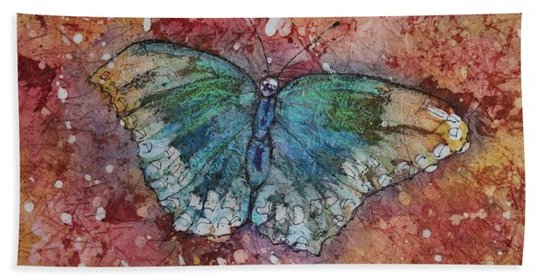 Hand Towel featuring the painting Shimmer Wings by Ruth Kamenev