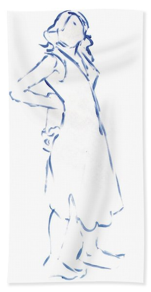 Silhouetted Woman Standing Bath Towel