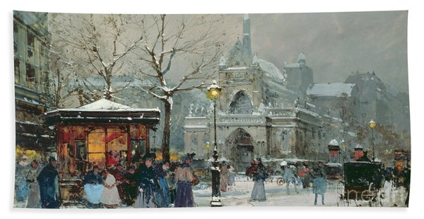 Snow Scene In Paris Bath Towel