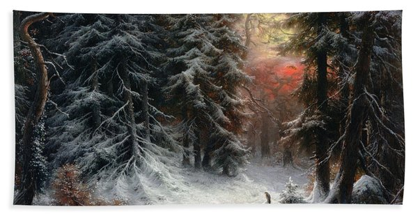 Snow Scene In The Black Forest Bath Towel